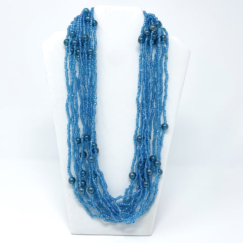 "27"" Light Blue Glass Bead Necklace (Dozen)"