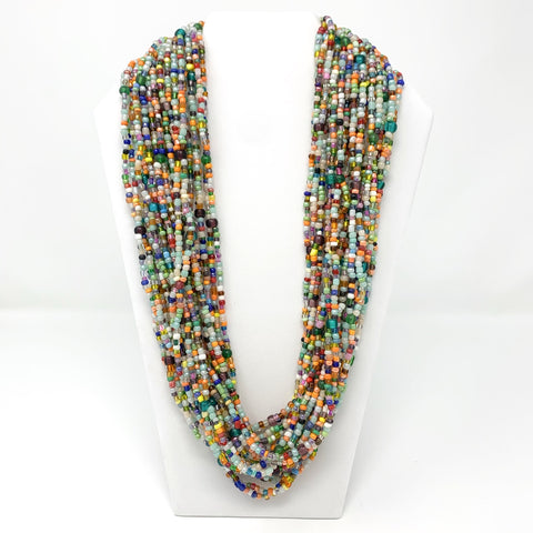 Long Double Strand Glass Bead Necklace