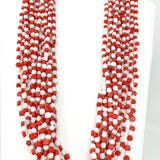 "27"" Necklace Red and White Glass Bead Necklace (Dozen)"