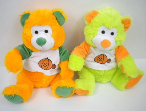 "14"" Bear With Pumpkin Shirt 2 Colors - Orange Or Neon Green (Each)"