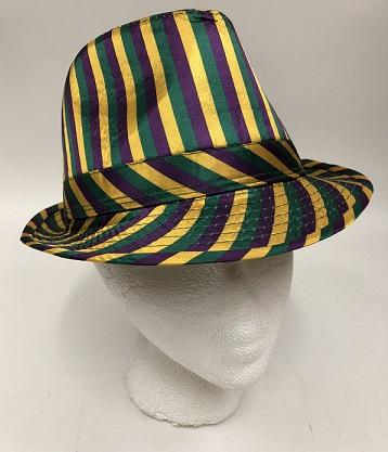 Purple, Green, and Gold Striped Fedora Hat (Each)