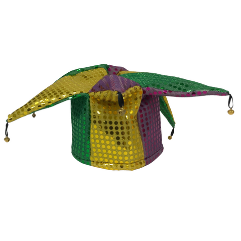 Purple, Green and Gold Sequin Jester Hat (Each)