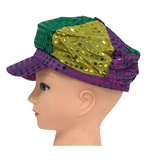 Purple, Green and Gold Sequin Newsboy (Each)