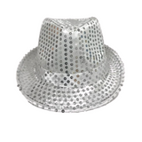 Silver LED Fedora with 14 White Lights (Each)