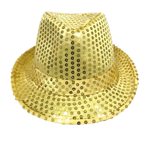 Gold LED Fedora with 14 White Lights (Each)