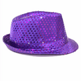 Purple LED Fedora with 14 White Lights (Each)