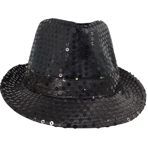 Black LED Fedora with 14 White Lights (Each)