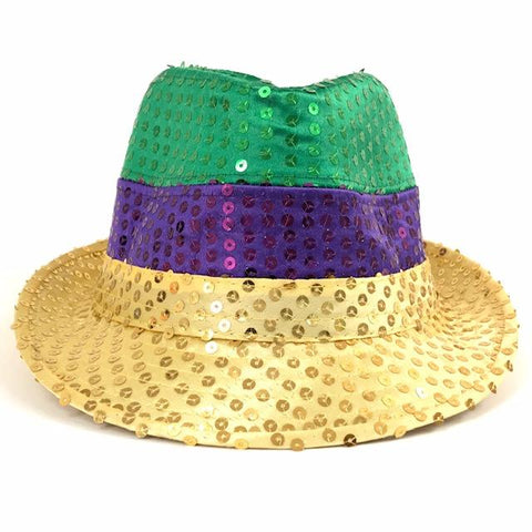 Purple, Green and Gold Sequin Fedora (Each)