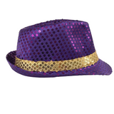 Purple and Gold Sequin Fedora (Each)