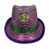 LED Purple and Green Sequin Fedora with Gold Fleur de Lis (Each)