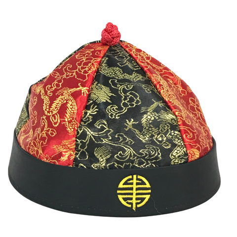 Red and Black Chinese Hat with Braid (Each)