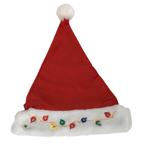 Santa Hat with Light Up Christmas Lights (Each)