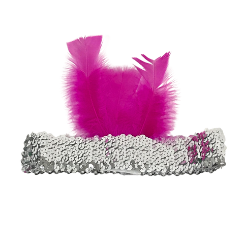 Silver Sequin Headband with Hot Pink Feather on Side (Each)
