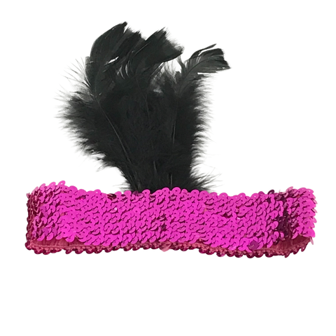 Hot Pink Sequin Headband with Black Feather on Side (Each)