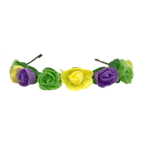 Purple, Green and Yellow Flower Wreath Headband (Each)