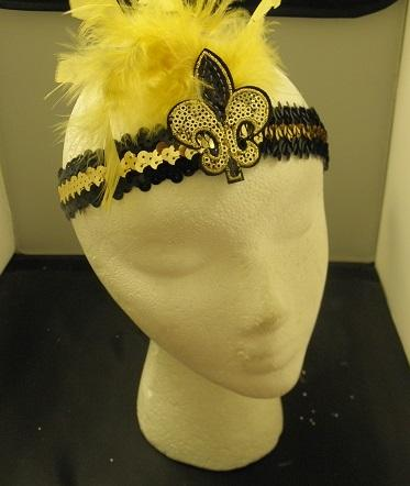 Black and Gold Sequin Head Band with Fleur De Lis and Feathers (Each)