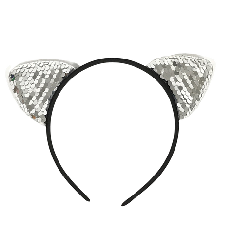 Silver Sequin Cat Ears Headband (Each)