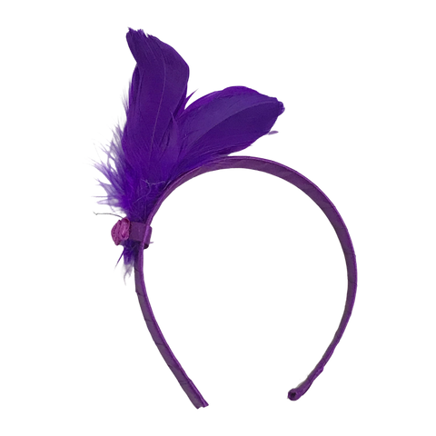 Purple Headband with Purple Feathers (Dozen)
