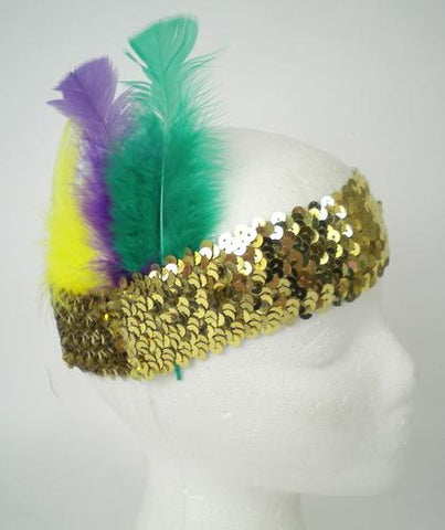 Gold Sequin Headband with Purple, Green and Gold Feathers (Each)