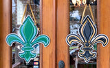 Door Hanger - Black/Gold and Blue/Green Reversible Fleur de Lis (Each)