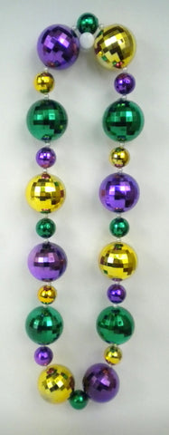 "48"" Purple, Green and Gold Graduated Balls Necklace (Dozen)"