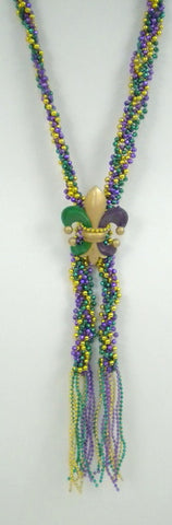 "60"" Purple, Green and Gold Braided Fleur de Lis Bead with Tassel"