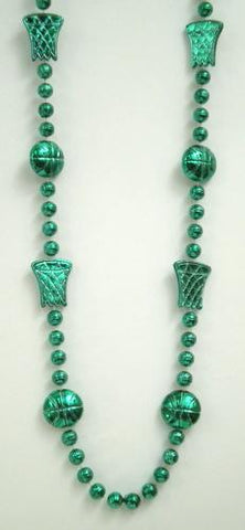 "36"" Metallic Green Basketball Bead Necklace (Dozen)"