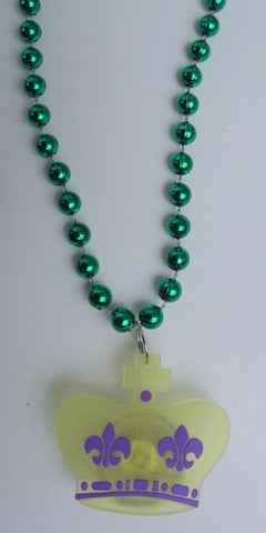 "33"" 7mm Green with Mardi Gras Crown Silicon Light-Up Necklace (Each)"
