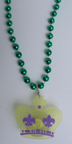 "33"" 7mm Green with Mardi Gras Crown Silicon Light-Up Necklace (Dozen)"