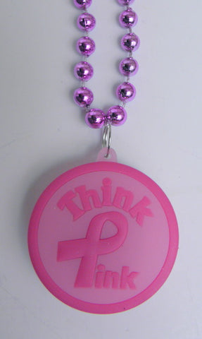 "33"" 7mm Hot Pink with Think Pink Ribbon Light-Up Necklace (Each)"