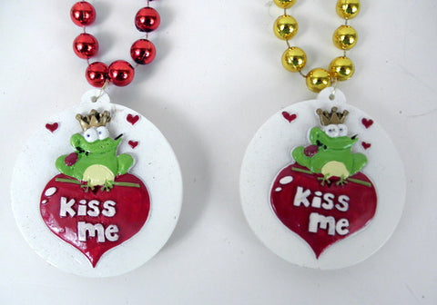 "42"" 12mm MOT Bead with 3"" LED ""KISS Me"" Frog Medallion (Dozen)"