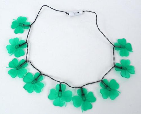 LED Clover Necklace with 9 Green Lights (Dozen)