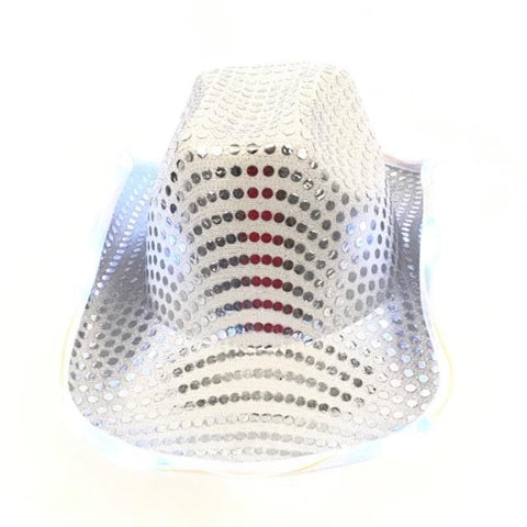 LED Silver Cowboy Hat (Each)