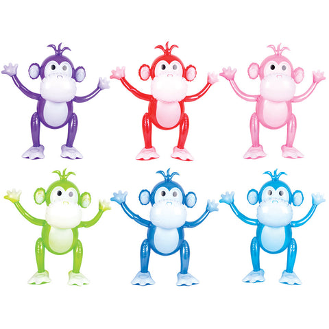 "24"" Inflatable Monkey - Assorted Colors (Each)"