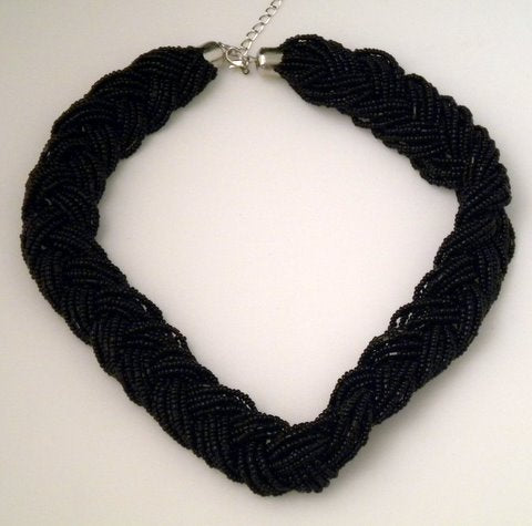 "Black Braided Necklace 18"" (Each)"