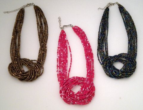 "Multi-Strand Knot Necklace 14"" - 3 Colors (6 Piece)"
