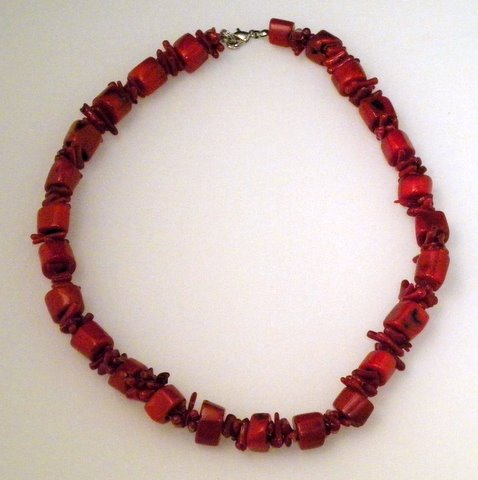 "Red Coral Necklace 16"" (Each)"