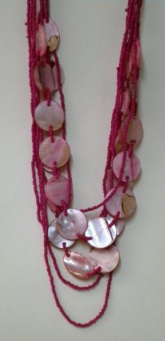 "Hot Pink Beaded Necklace 26"" (Each)"