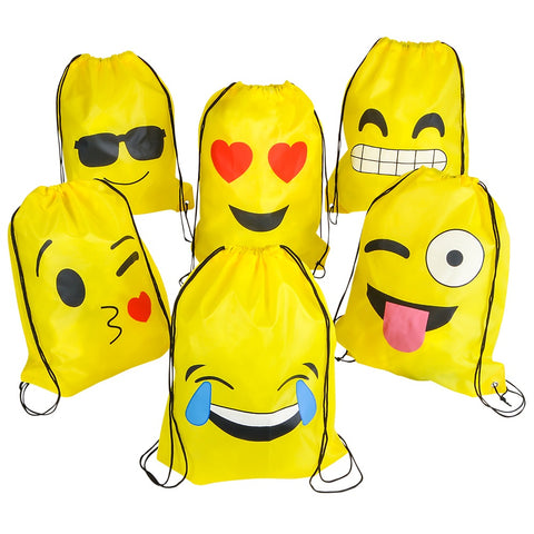 "16""x13"" Emoji Drawstring Backpack (Dozen)"