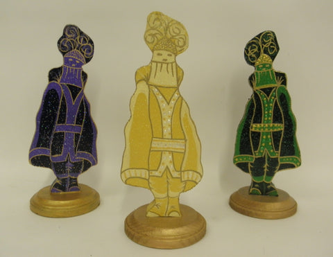 "10"" Purple, Green or Gold Duke Wood Table Decoration (Each)"