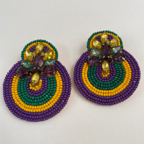 Mardi Gras Seed Bead with Rhinestones (Each)