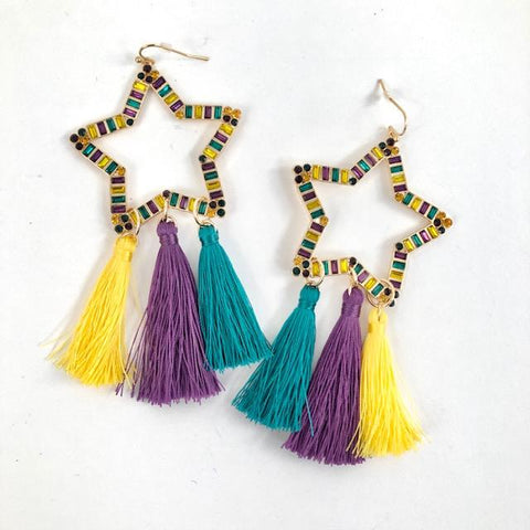Mardi Gras Rhinestone Star Earrings with Tassels (Pair)