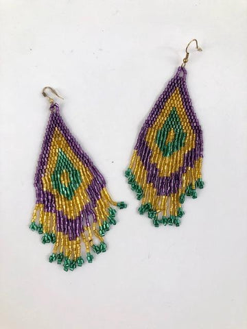 Mardi Gras Irridescent Long Fringe Earrings (Each)