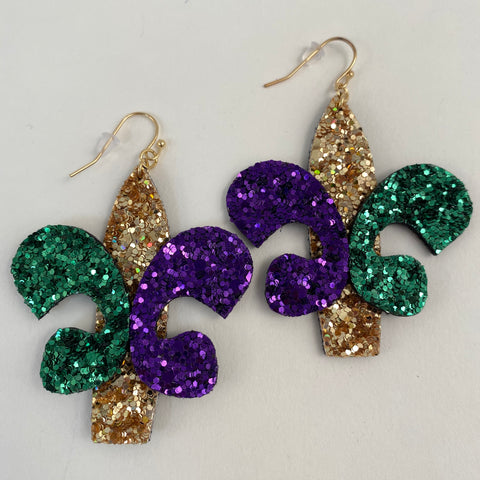 Mardi Gras Glitter Fleur de Lis Earrings (Pair)