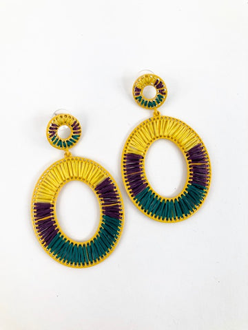 Mardi Gras Woven Circle Earrings (Pair)