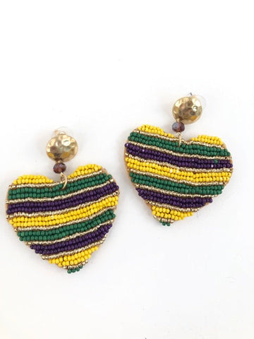 Mardi Gras Seed Bead Striped Heart Earrings (Pair)