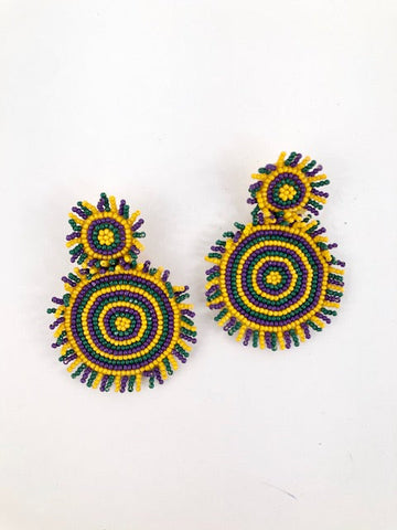 Mardi Gras Seed Bead Sunburst Earrings (Pair)