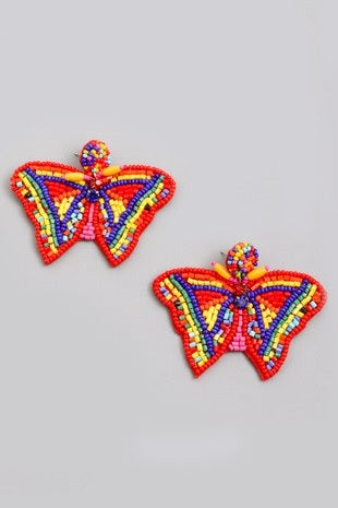 Mutli Color Seed Bead Butterfly Earrings (Pair)