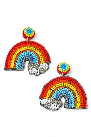 Beaded Rainbow Dangle Earrings (Pair)