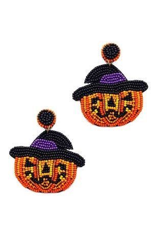 Halloween Beaded Pumpkin with Witch Hat Earrings (Pair)